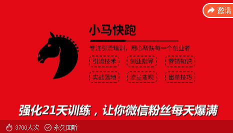 小马快跑:专注引流培训系列,专注引流训练强化21天训练